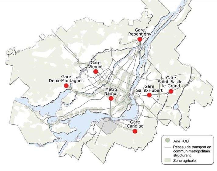 Carte de localisation des TOD
